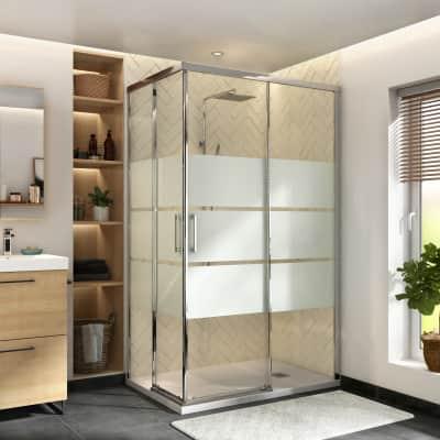 Box doccia rettangolare scorrevole Remix 70 x 120 cm, H 195 cm in vetro temprato, spessore 6 mm serigrafato cromato