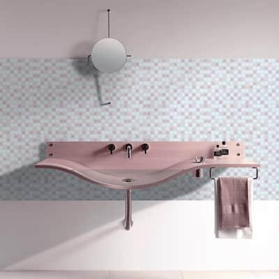 Mosaico Cipria H 32.7 x L 32.7 cm bianco/rosa