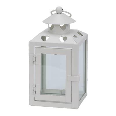 Portacandela bianco H 18 cm, L 10 x L 10 cm