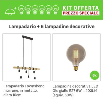 Lampadario Industriale KIT+6 LAMPADINE DECORATIVE  Townshend marrone, in metallo, L. 100 cm, 6 luci, EGLO