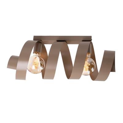 Applique moderno Twister tortora, in ferro, 54x19 cm, 2 luci