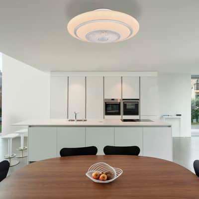 Ventilatore da soffitto LED integrato Rosario pale a scomparsa, nero, con telecomando