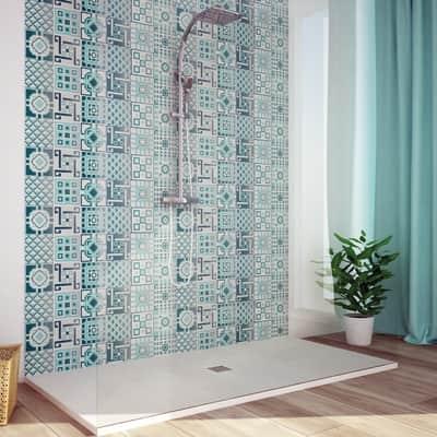 Mosaico Cement Verde H 59 x L 178 cm acquamarina/bianco