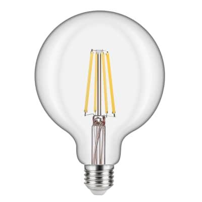 Lampadina LED filamento, E27, Globo, Trasparente, Luce calda, 10.5W=1521LM (equiv 100 W), 360° , LEXMAN