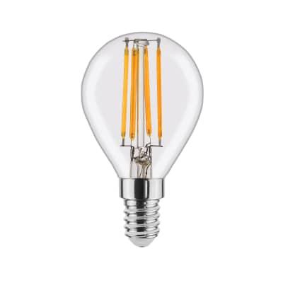 Lampadina LED filamento, E14, Globo, Trasparente, Luce calda, 4W=470LM (equiv 40 W), 360° , LEXMAN