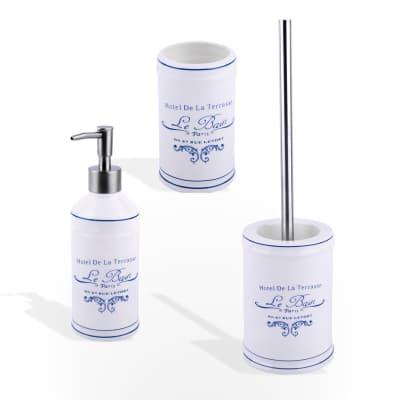 Set di accessori per bagno Torento bianco e blu in ceramica , 3 pezzi