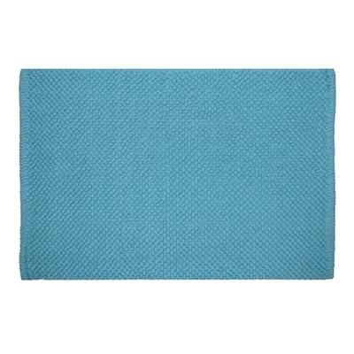 Tappeto bagno Bubble in 100% cotone blu 80 x 50 cm