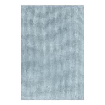 Tappeto bagno rettangolare Fluffy in poliestere azzurro 80 x 50 cm