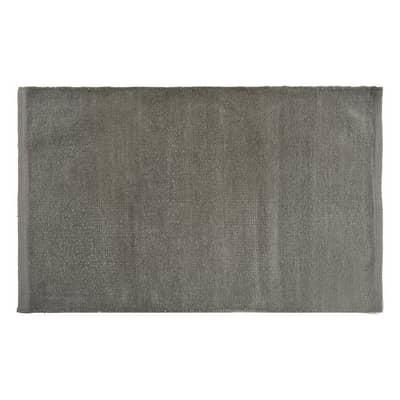 Tappeto bagno rettangolare Short chenille in 100% cotone grigio 80 x 50 cm