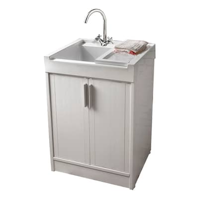 Mobile lavanderia Up grigio e alluminio L 60 x P 50 x H 84 cm