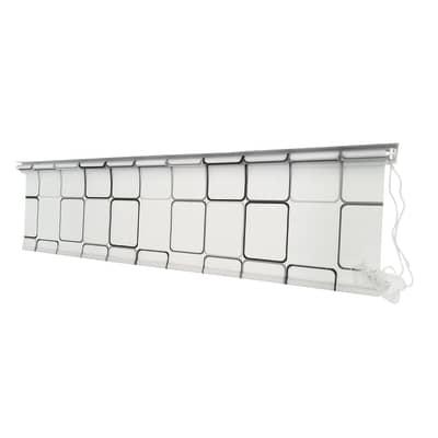 Tenda doccia Rollo in vinile bianco/nero L 180 x H 200 cm