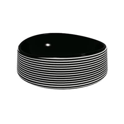 Lavabo Rotondo Texture in ceramica Ø 40 x H 14 cm bianco e nero