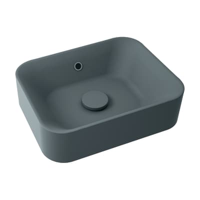 Lavabo free-standing da appoggio Rettangolare Capsule in resina L 48 x P 38 x H 13.2 cm grigio antracite