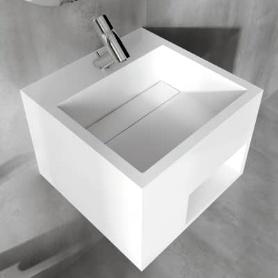 Lavabo sospeso quadrato L 40 x H 30 x P 40 cm in solid surface bianco