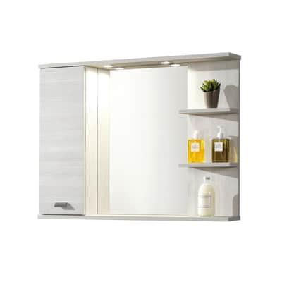 Specchio contenitore con luce Rimini L 95 x P 16.4 x H 74 cm larice