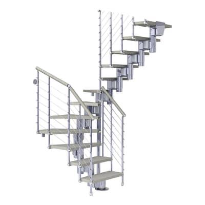 Scala a rampa due quarti di giro Long Tube FONTANOT L 90 cm, gradino tortora, struttura cromato