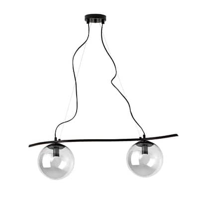 Lampadario trasparente in metallo , L. 90 cm, 2 luci
