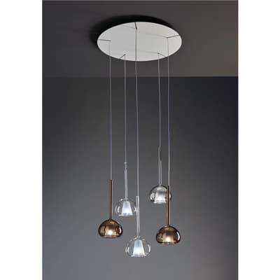 Lampadario Beba trasparente, in metallo, diam. 70 cm, LED integrato 5xMAX60W IP20 SFORZIN