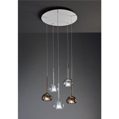 Lampadario Glamour Beba trasparente in metallo, D. 15 cm, 5 luci, SFORZIN