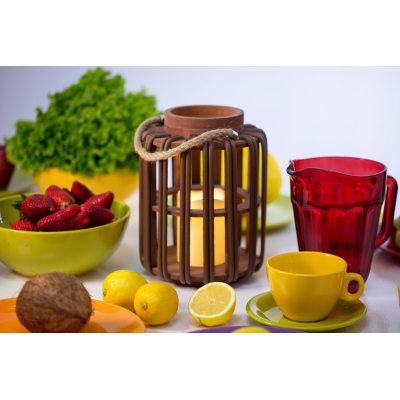 Lanterna 1 minilucciole Led classica gialla H 25 cm