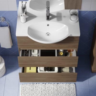 Mobile bagno elise rovere l 80 cm prezzi e offerte online for Color tabacco mobili