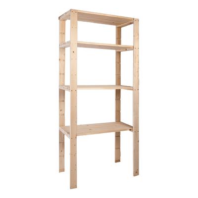 Scaffale legno extra 4 ripiani l 80 x p 40 x h 170 cm for Scaffali in legno grezzo