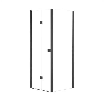 Doccia con porta pieghevole e lato fisso Neo 87 - 91 x 77 - 79 cm, H 201,7 cm vetro temperato 6 mm trasparente/nero