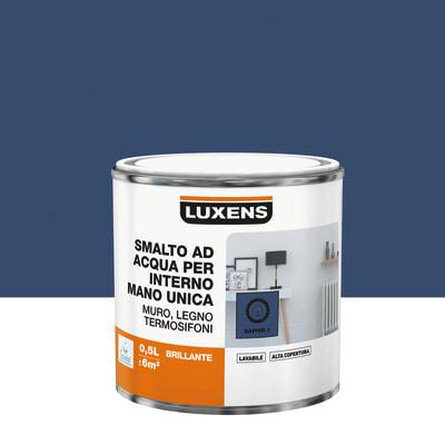 Smalto manounica Luxens all'acqua Blu Zaffiro 1 brillante 0.5 L