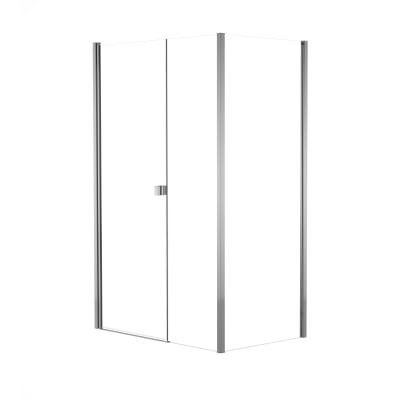 Doccia con porta battente lato fisso in linea e lato fisso Neo 99 - 101 cm x 77 - 79 cm, H 201,7 cm vetro temperato 6 mm trasparente/cromo PVD