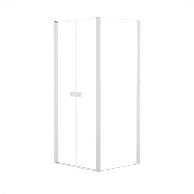 Doccia con porta saloon e lato fisso Neo 77 - 81 x 77 - 79 cm, H 200 cm vetro temperato 6 mm trasparente/bianco opaco