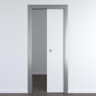 Porta per ufficio scorrevole Frame eco bianco 80 x H 210 cm reversibile