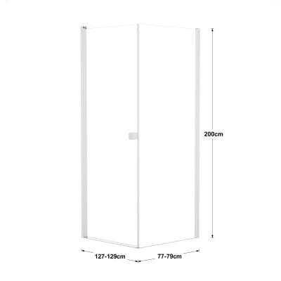 Doccia con porta battente e lato fisso Neo 87 - 89 x 77 - 79 cm, H 200 cm vetro temperato 6 mm trasparente/bianco opaco