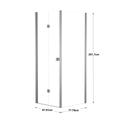 Doccia con porta pieghevole e lato fisso Neo 87 - 91 x 77 - 79 cm, H 201,7 cm vetro temperato 6 mm trasparente/silver