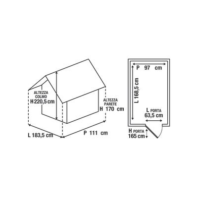 casetta addossata in polipropilene Manor Pent 6x4 1,63 m²