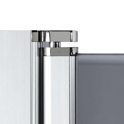 Doccia con porta battente e lato fisso Neo 73 - 75 x 77 - 79 cm, H 200 cm vetro temperato 6 mm trasparente/nero