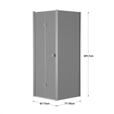 Doccia con porta pieghevole e lato fisso Neo 67 - 71 x 77 - 79 cm, H 201,7 cm vetro temperato 6 mm fumè/silver