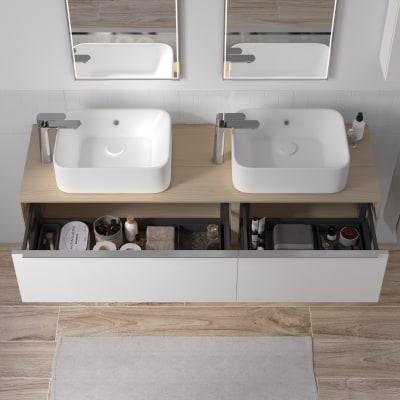 Mobile bagno Neo Frame L 150 x P 48 x H 33 cm 2 cassettoni rovere chiaro/bianco