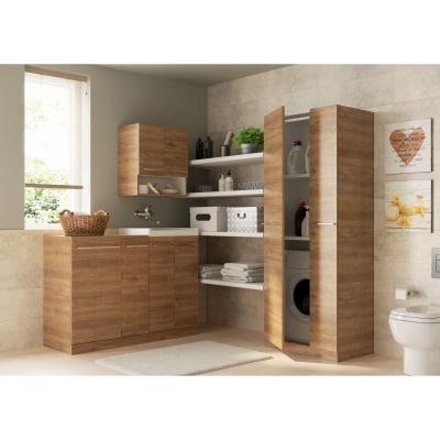 Colonna Porta lavatrice e asciugatrice remix rovere trasversale 2 ante L 75 x H 197 x P 72 cm