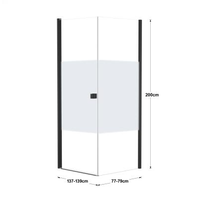 Doccia con porta battente e lato fisso Neo 97 - 99 x 77 - 79 cm, H 200 cm vetro temperato 6 mm serigrafato/nero