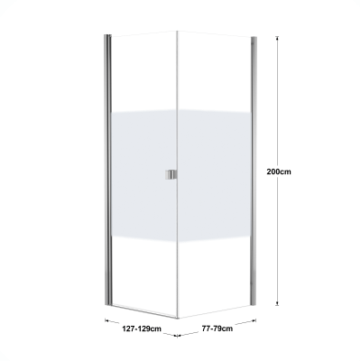 Doccia con porta battente e lato fisso Neo 87 - 89 x 77 - 79 cm, H 200 cm vetro temperato 6 mm serigrafato/cromo PVD