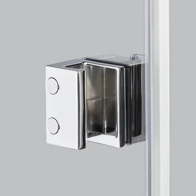 Doccia con porta saloon e lato fisso Neo 72 - 76 x 77 - 79 cm, H 200 cm vetro temperato 6 mm trasparente/bianco opaco