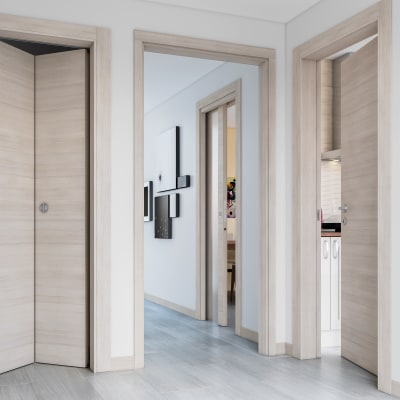 Porta da interno battente Resort larice ghiaccio 90 x H 210 cm reversibile