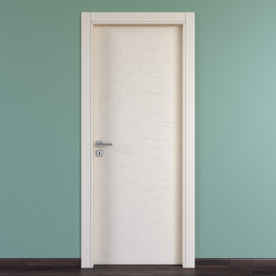 Porta da interno battente Flower ivory avorio 60 x H 210 cm dx