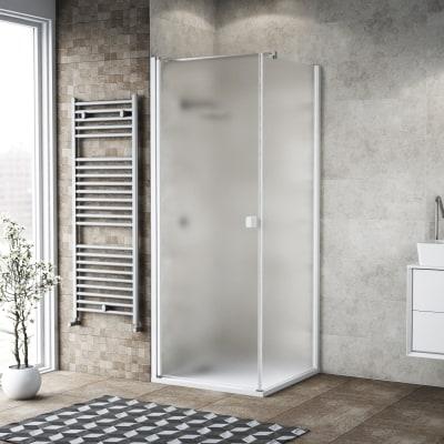 Doccia con porta battente e lato fisso Neo 99 - 101 x 77 - 79 cm, H 200 cm vetro temperato 6 mm bianco opaco