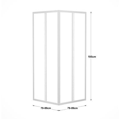Box doccia scorrevole Elba 79-89 x 79-89, H 185 cm acrilico 3 mm stampato/bianco lucido