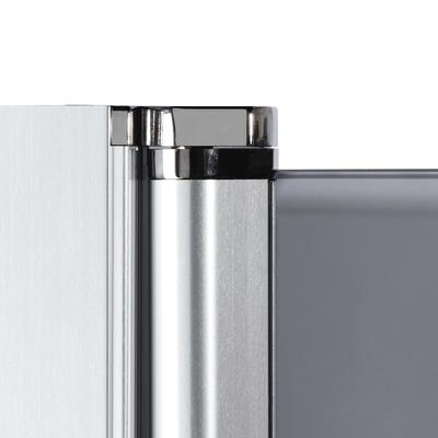 Doccia con porta battente e lato fisso Neo 77 - 79 x 77 - 79 cm, H 200 cm vetro temperato 6 mm serigrafato/nero