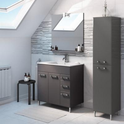 Mobile bagno Opale grigio antracite L 80 cm