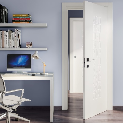 Porta da interno battente Keyboard white bianco 90 x H 210 cm dx