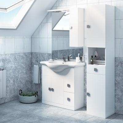 Mobile bagno super bianco l 85 cm prezzi e offerte online for Mobili bagno prezzi