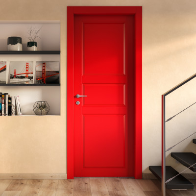 Porta da interno battente New York rosso 90 x H 210 cm sx